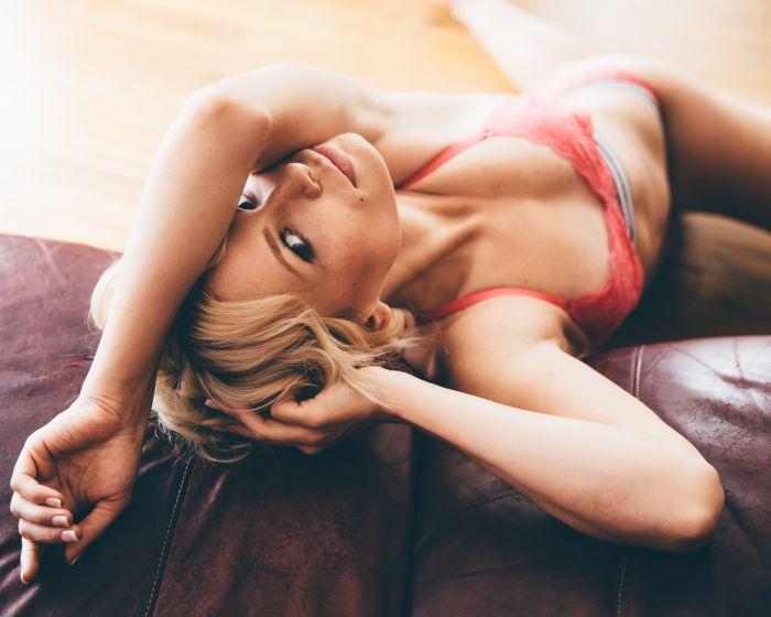 pretty blonde enjoying her lingerie