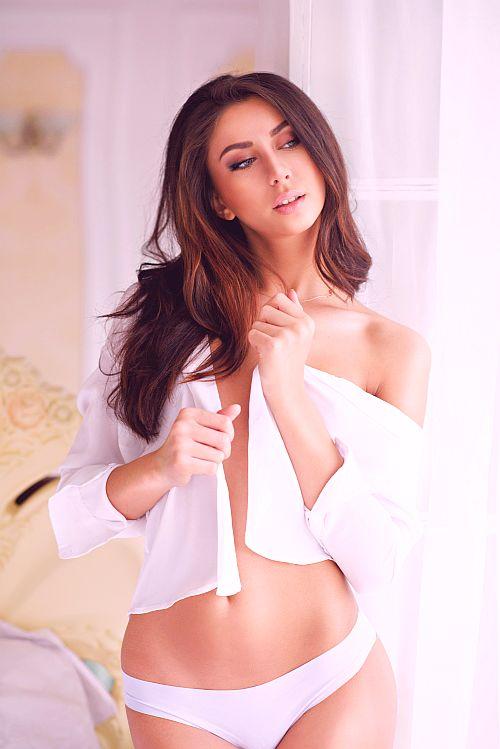 Hot brunette looking good after sex