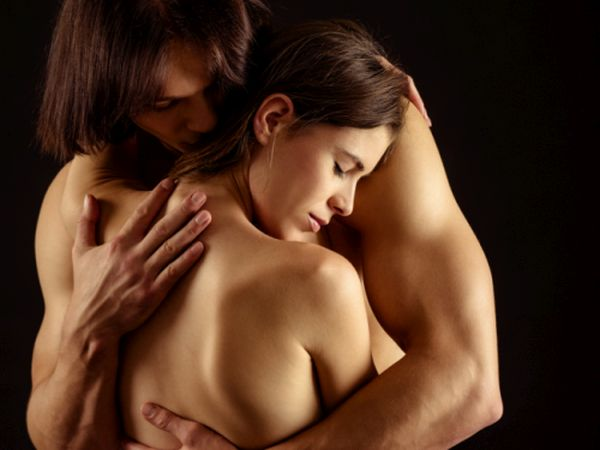 Naked couple in a love embrace