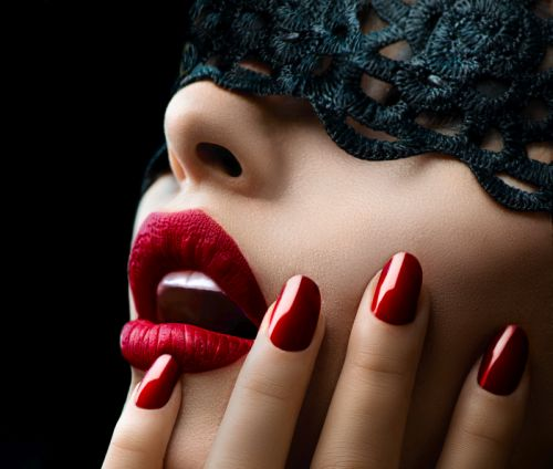 Sexy lady's open mouth with red lipstick