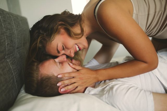 couple getting intimate for some period sex
