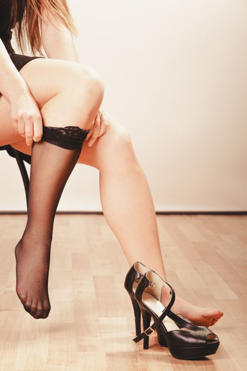 Woman wearing stockings
