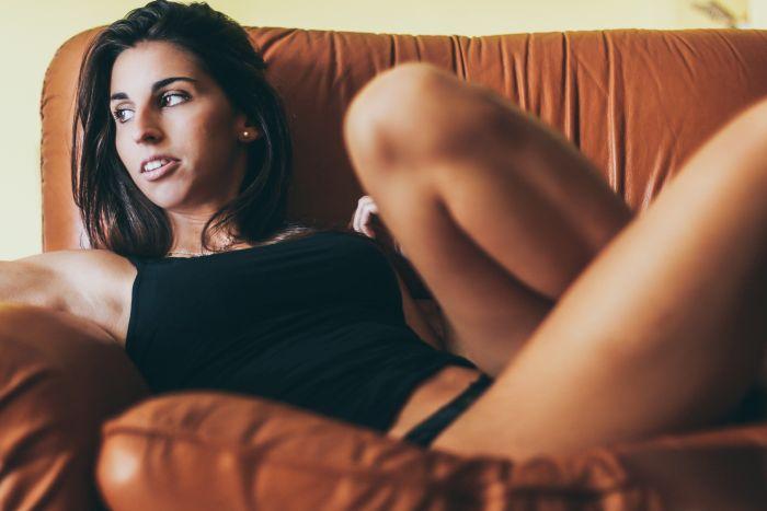 Sexy Italian Girl on a sofa