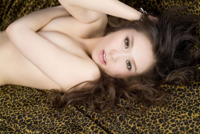 Japanese Girl Naked on a leopard print