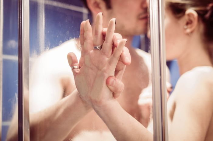 couple showering to get in the mood