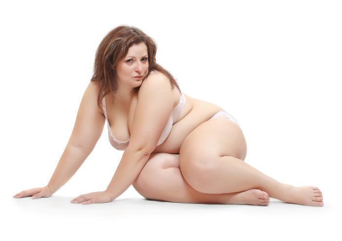 Naked plus size woman