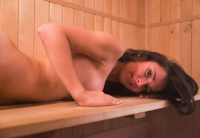 Hot Russian girl in the sauna