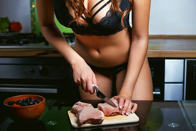 radiant women in black lingerie preparing Steak and Blowjob Day