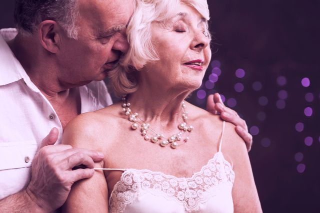 old couple being really sensual