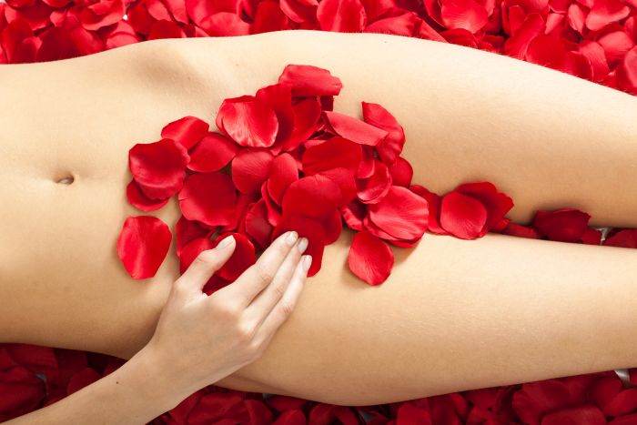 lady's naked torso cover with red rose petals