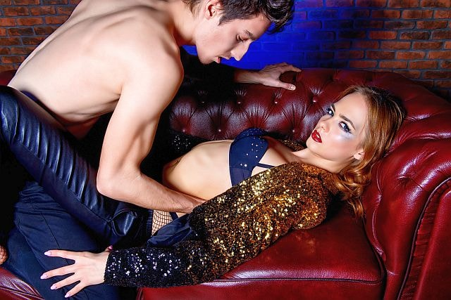 elegant blonde in the middle of a killing kittens sex party