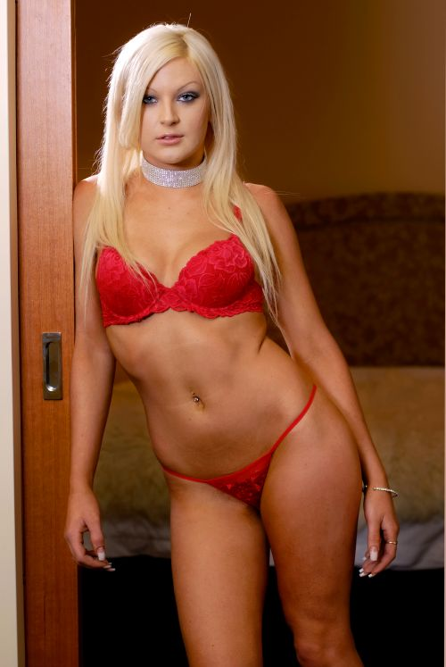 Sexy blond woman in red underwear