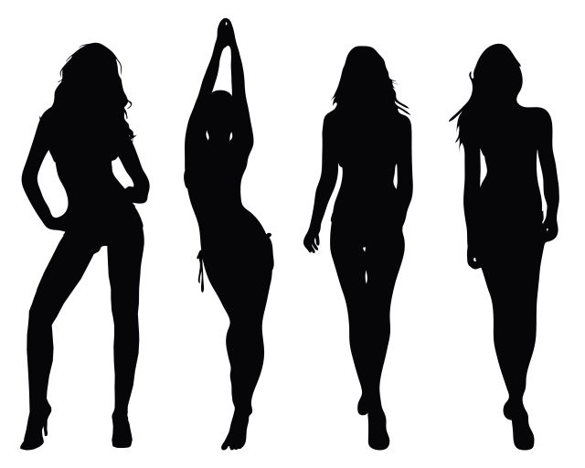 Silhouettes of four hot women