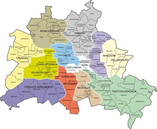 Karte mit Berliner Bezirken