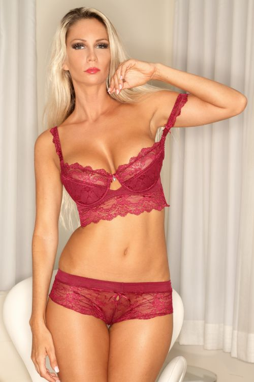 hot milf in red lingerie