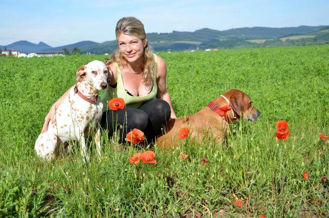 sexy blonde MILF im Park mit Hunden
