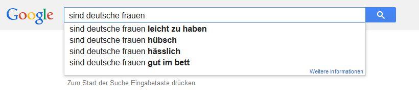 Anzeige Google Autosuggest: sind deutsche frauen