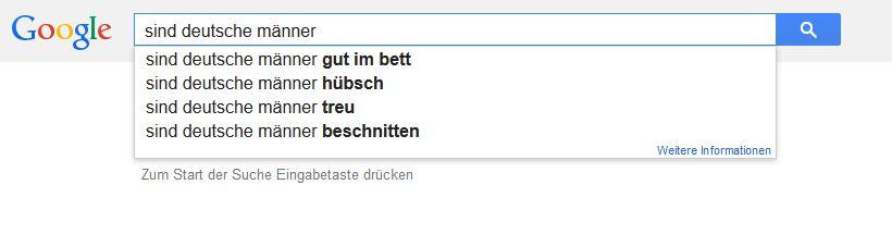 Anzeige Google Autosuggest: sind deutsche männer