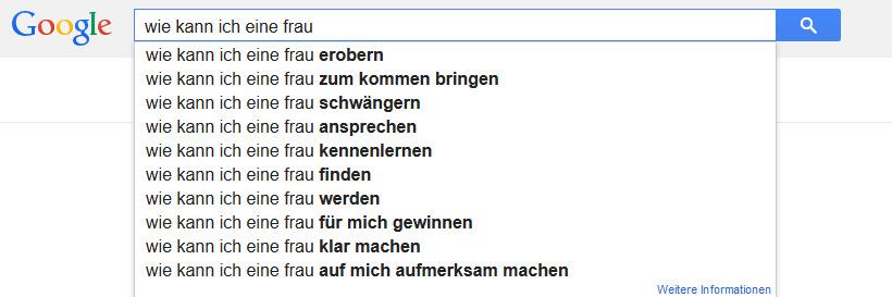 Anzeige Google Autosuggest: wie kann ich eine frau