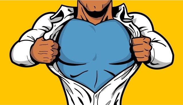 Männliche Comic-Figur öffnet sein Hemd