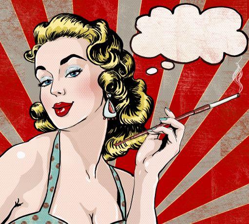 Pop Art Frau mit Zigarette und Denkblase