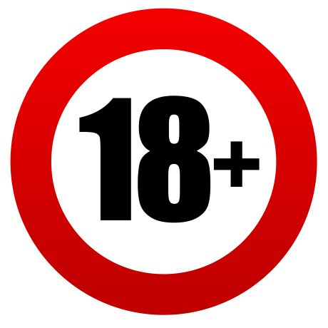 Schild mit Aufschrift 18+