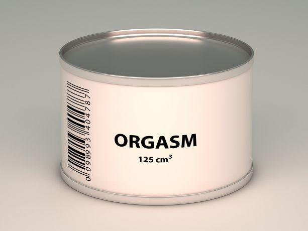 Dose mit Aufschrift Orgasm