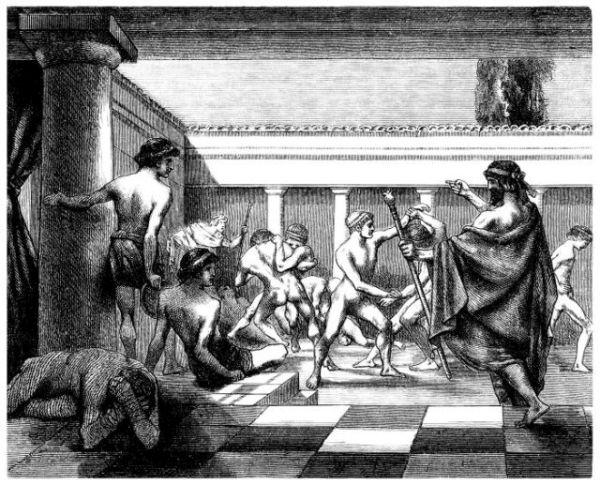 Zeichnung zeigt antike Ringer