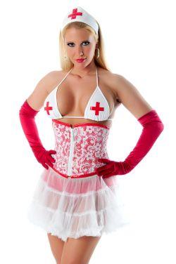 Blonde aufreizend gekleidete Krankenschwester